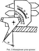 Измерение угла кромки с помощью шаблона WG-2